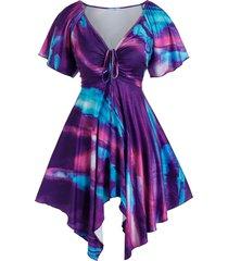 plus size raglan sleeve tie dye handkerchief dress