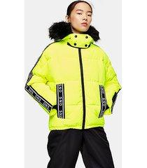 *neon yellow logo ski jacket by topshop sno - fluro yellow
