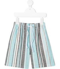 raspberry plum striped drawstring shorts - blue