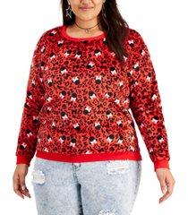 love tribe trendy plus size minnie cheetah-print plush sweatshirt