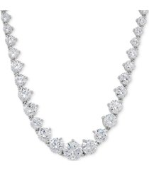 """arabella cubic zirconia graduated 17"""" necklace in sterling silver, created for macy's"""