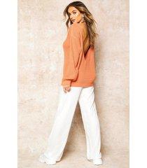 v-back oversized sweater, apricot