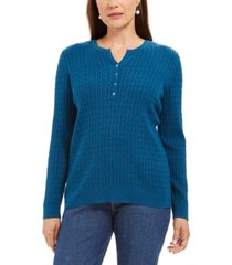 karen scott cable-knit henley sweater, created for macy's