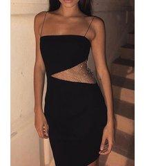 patchwork de malla negra con espalda descubierta diseño correa de espagueti vestido