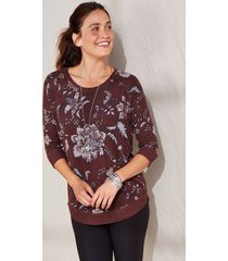 maurices womens burgundy floral round hem pullover red