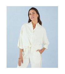 camisa keith com nó frontal cor: off white - tamanho: pp