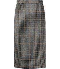 maison margiela plaid-check wool pencil skirt - grey
