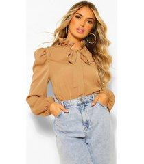 chiffon blouse met schouderpads en strik, steenrood