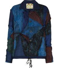 by walid slouchy patchwork design blazer - blue