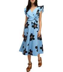 grand floral midi wrap dress
