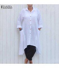 zanzea mujer solapa botones irregular ocasionales flojas de la blusa larga llanura camisa de vestir blanca -blanco