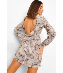 marmerprint chiffon skater jurk met waterval rug, grey