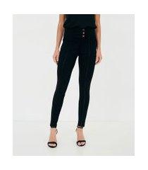 calça legging com cós largo e botões | a-collection | preto | g
