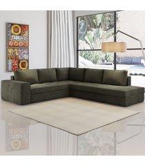 sofá de canto golias 5 lugares 12914 marrom - viero móveis