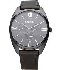 orologio multifunzione con cinturino in pelle grigio e cassa in acciaio grigio per uomo