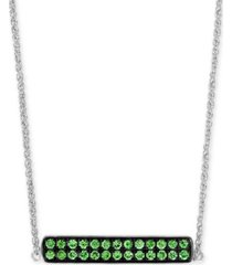 """effy tsavorite cluster horizontal bar 18"""" pendant necklace (1/2 ct. t.w.) in sterling silver"""