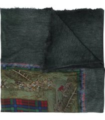 avant toi paisley embroidered cashmere scarf - green