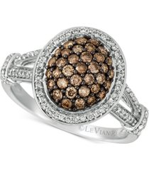 le vian chocolatier diamond oval cluster ring (7/8 ct. t.w.) in 14k white gold
