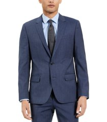 hugo men's slim-fit blue check suit jacket, created for macy's