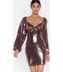 womens bust can't get enough metallic mini dress - rose gold