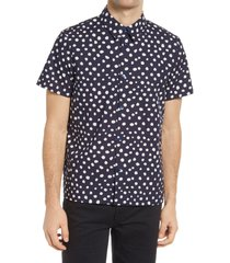 men's a.p.c. leandre dot print short sleeve button-up shirt, size x-small - blue