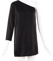 stella mccartney one shoulder dress black sz: xs