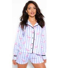 pyjama met snoepjes en flamingo-snoepjes, blauw