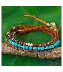 jasper and leather wrap bracelet, 'tha ton sky' (thailand)