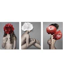 quadro 60x120cm canvas astra mulher com flores vermelha e branca - tricae