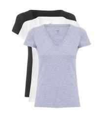 kit t-shirt feminina pima berlim gola v - cinza