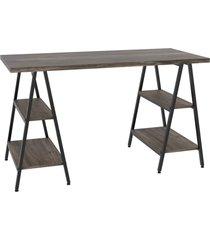 mesa escrivaninha cavalete 135cm estilo industrial prisma c08 carvalho dark/preto - mpozenato - marrom - dafiti