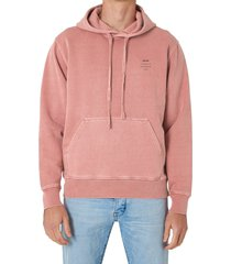 men's neuw washed cotton hoodie, size large - coral