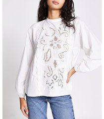 river island womens white cut work embroidered puff sleeve top