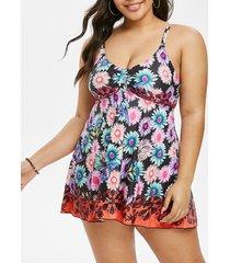 plus size floral print empire waist swimsuit