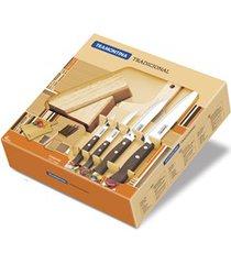 conjunto de facas inox com cepo e tábua de corte 6 peças