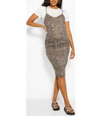 maternity leopard print 2 in 1 bodycon dress, white