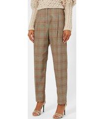 zimmermann women's unbridled paperbag pants - tan check - 2/uk 12 - grey