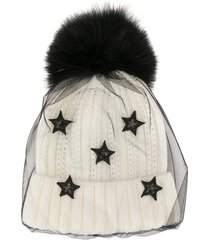 venna layered-tulle beanie hat - white