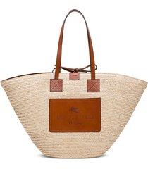 etro straw handbag with logo