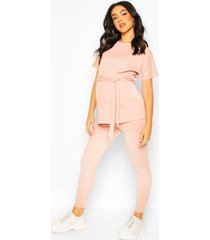 maternity batwing tie waist legging lounge set, blush
