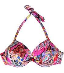 bikini estilo sostén clásico estampado fucsia samia