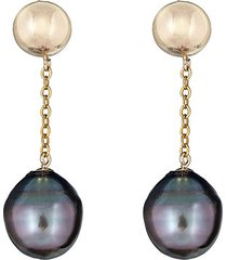 14k yellow gold & 11mm tahitian pearl drop earrings