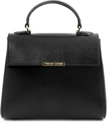 tuscany leather tl141628 tl bag - bauletto piccolo in pelle saffiano nero