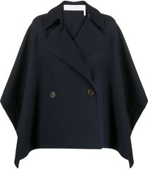 see by chloé double-breasted cape coat - blue