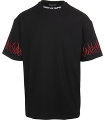 man black t-shirt with red embroidered flames