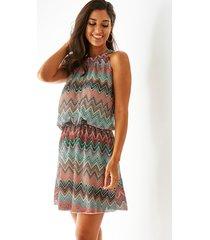 color block geometrical halter sleeveless dress
