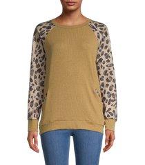 stellah women's animal-printed sleeves sweatshirt - silver - size m