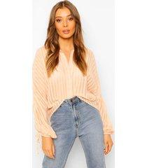 doorzichtig gestreepte blouse met geplooide mouwen, blush