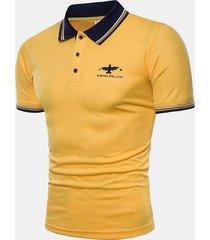 logo da ricamo alla moda da uomo estivo sottile fit business casual golf camicia