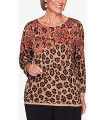 women's plus size catwalk floral animal print jacquard sweater
